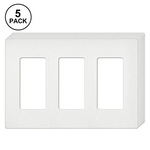 [5 Pack] BESTTEN Screwless Wall Plates, USWP4 Series, 3-Gang Outlet Covers for GFCI, Decorator Receptacle, Dimmer and Light Switch, Residential and Commercial Grade, UL Listed, White (4 Gang Wall Plate Gfci)