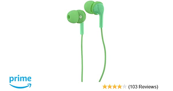 97c699bfc5f Amazon.com: AmazonBasics In-Ear Wired Headphones Earbuds with Microphone,  Green: Electronics