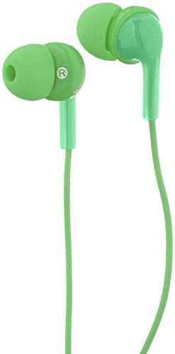 AmazonBasics In-Ear Wired Headphones Earbuds with Microphone, Green (Best Earbuds Under 10)