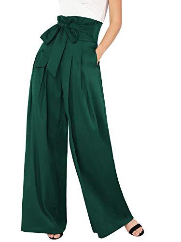 Milumia Womens Wide Leg Pants High Waist Palazzo Lounge Long Trousers Green S