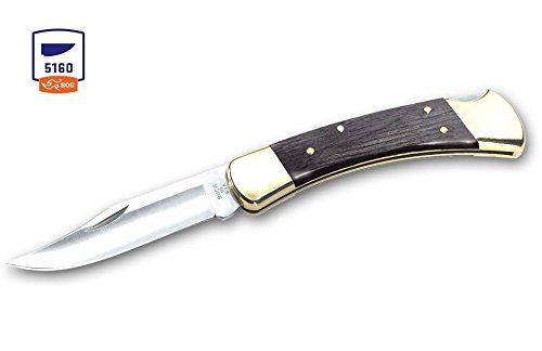Buck Knives 110 Charcoal 5160 Carbon Steel Folding Hunter Knife W/Sheath 110GYSSH