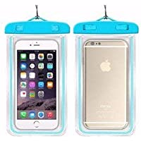 NGX Technology Waterproof Sealed Transparent Bag with Luminous Underwater Pouch Phone Case for iPhone/Samsung/HTC(Black, Pink, Blue and Orange)