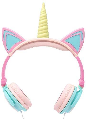 Kids Headphones Children's Headphones Over Ear Headphones Unicorn Headphones Cat Ear Headphones Flashing Lights Pink