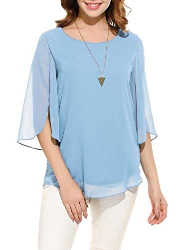 Oyamiki Womens Half Sleeve Layered Flowy Chiffon Blouses Round Neck Top Shirts Sky Blue