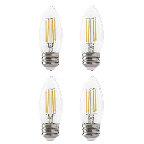 LED B10 4.5W Torpedo Filament Chandelier Light Bulb, 60W Equivalent, 500 Lumens, 3000K Soft White, Dimmable, 120V, E26 Candelabra Base, Energy Star, Clear (4 Pack)