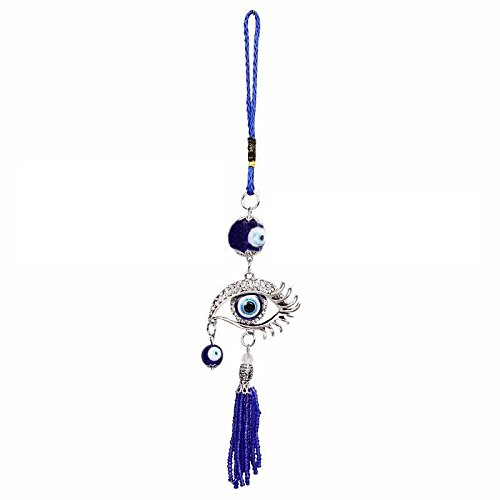 (Lucky Evil Eye Car Pendant Car Rearview Mirror Hanging Ornament Car Decoration Car Accessories (White))