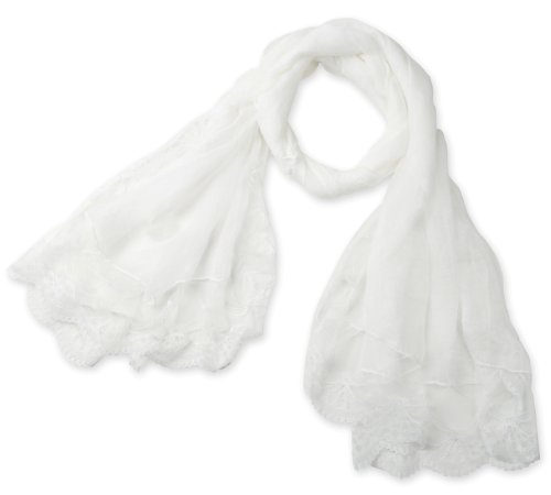 Corciova® Women's Long Lace Imitated Silk Scarf White