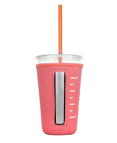 Insulated Neoprene Cup Sleeve/Holder for Iced Beverages, Coffee, and Tea (Coral, Medium)