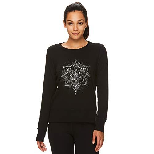 Gaiam Women's Pullover Yoga Sweatshirt - Lightweight Long Sleeve Athleisure Sweater - Mandala Black (Tap Shoe), Large