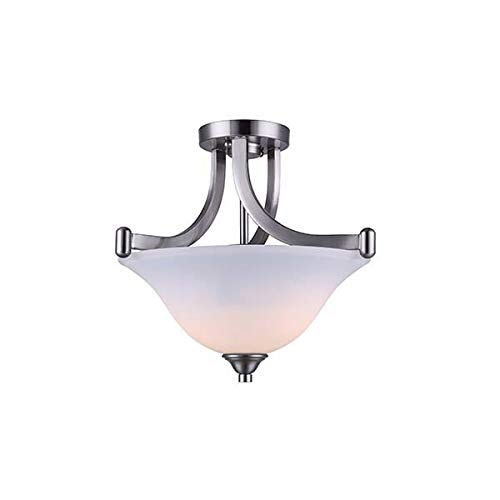 CANARM ISF587A02BN Rue 2 Bulb Semi-Flush Mount Brushed Nickel with Flat Opal Glass