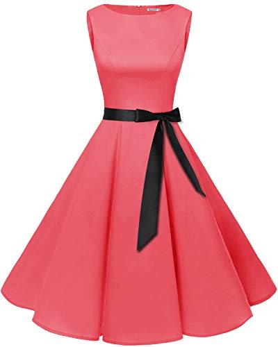 Bbonlinedress Women's 1950s Audrey Summer Vintage Rockabilly Swing Dress Coral 2XL