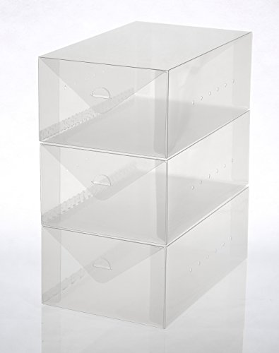 Ybmhome Plastic Shoe Box Shoe Storage Foldable Clear Container for Closet, Shelf Organizer 2188 (Men's Shoe Box (Set of 3))