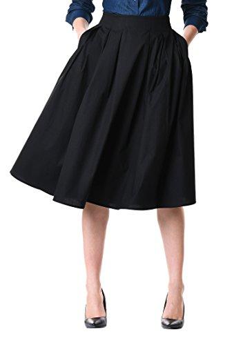 eShakti Women's Cotton poplin Box-Pleat Skirt 3X-24W Tall Black