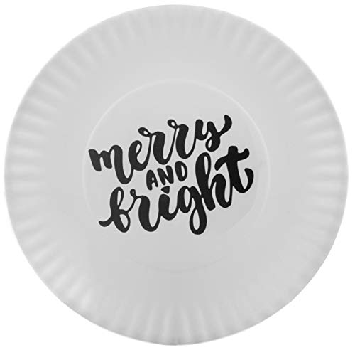 10.5 Melamine Plate (Melange 608410091801 6-Piece 100% Melamine Dinner Plates Christmas Collection-Quotes Shatter-Proof and Chip-Resistant|, 10.5