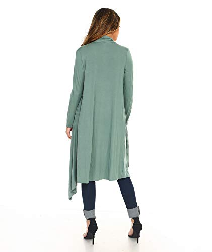 Isaac Liev Women s Open Front Drape Draped Front Lightweight Long Cardigan  with Side Pockets (X 94784c328