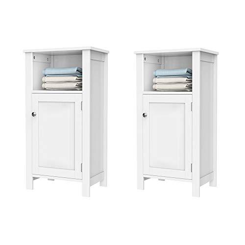 (Yaheetech Bathroom Floor Storage Cabinet Toiletries Single Door Adjustable Shelf, Set of 2, White)