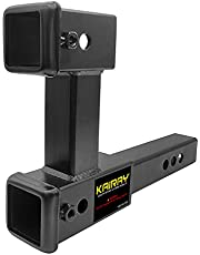 KAIRAY Double Hitch Receiver 2 inch Trailer Hitch Extension Riser Hitch Adapter Fits for 2 inch Receiver Extender to 10 inch Max Length 7.5 Inch Riser