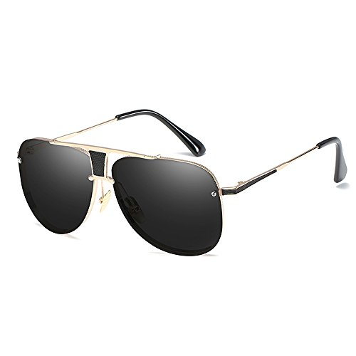 de Male UV400 Grande Designer Eyewear hombres Marco Shaped Negro sol Gafas Oversize Oro para Square Classical Retro qA7dt67