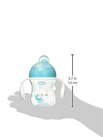 Chicco, Vaso con Boquilla Semirrígida y Válvula Anti Goteó, Azul, Modelos Aleatorios