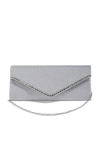 Women Envelope Clutch Purse Metallic Glitter Evening Bag Handbag With Chain Strap (Metallic Evening Clutch)