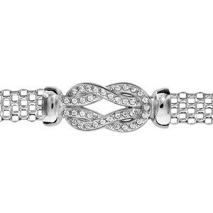 1001 Bijoux - Bracelet argent rhodié maille milanaise motif noeud oxydes blancs sertis 16+3cm