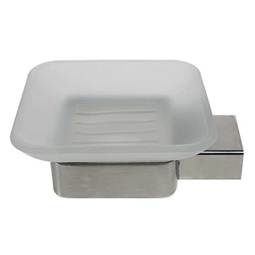 QT Modern Bathroom Soap Dish - Extremely Stylish Made from 304 Brushed Stainless Steel - Water and Rust Proof, Wall Mounted, Easy to Install