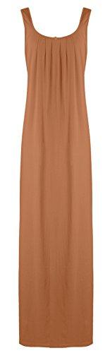 El Orange etiquetas para New para mujer pijamas Ladies Sleevelss algodón camisón semitransparente camisón transparente 18–�?2 marrón