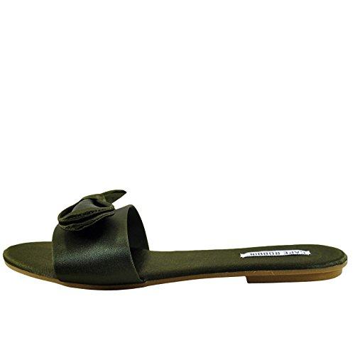 2 Women's ROBBIN Sandal Sadie Tie Olive Satin Slide CAPE Bow 7qgTnEBqw