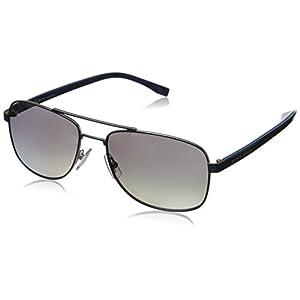 BOSS by Hugo Boss Men's B0762s Rectangular Sunglasses, Matte Blue/Gradient Shaded Polarized, 58 mm
