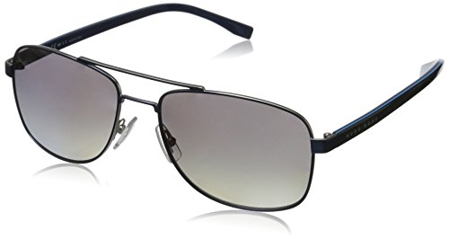 BOSS by Hugo Boss Men's B0762s Rectangular Sunglasses, Matte Blue/Gradient Shaded Polarized, 58 - Boss Sunglasses Hugo Mens