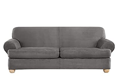 Sure Fit Ultimate Heavyweight Stretch Suede Individual 2 Piece T-Cushion Sofa Slipcover - Slate Gray