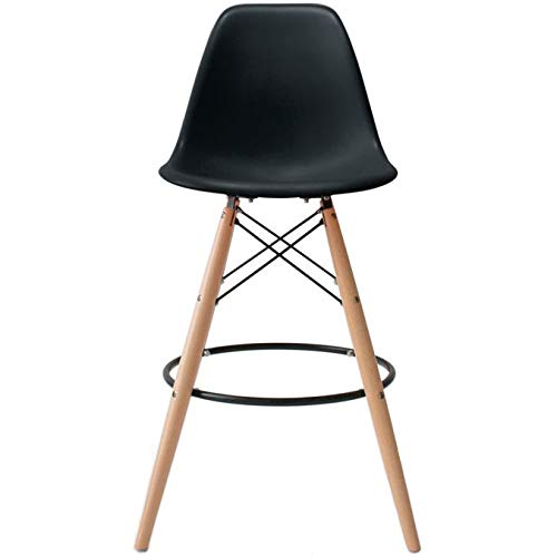 2xhome – Black – 25″ Seat Height DSW Molded Plastic Bar Stool Modern Barstool Counter Stools with Back and armless Natural Legs Wood Eiffel Legs Dowel-Leg