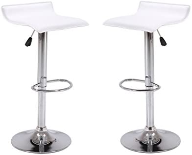 Vogue Furniture Direct Adjustable Height Swivel Barstools with Footrest, White Set of 2 VF1581045-2
