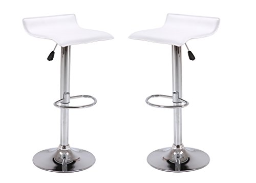 Vogue Furniture Direct Adjustable Height Swivel Barstools with Footrest, White (Set of 2) VF1581045-2 (Outdoor Vogue Furniture)