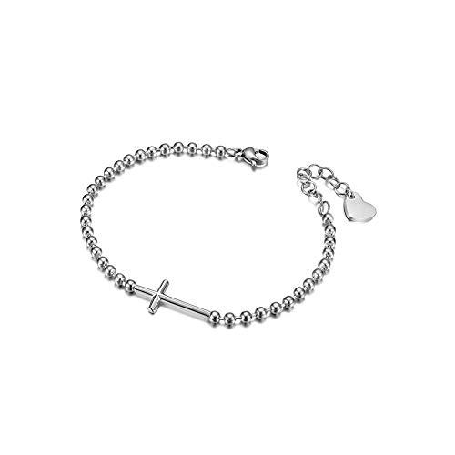 JINBAOYING Cross Christian Bracelet Heartbeat Sideways Bracelet Stainless Steel Italian Style Charm Adjustable Bracelets Link for Women