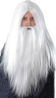 White Men's Long Wizard Wig & Beard
