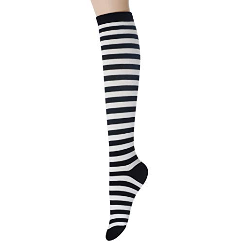 Sockstheway Womens Casual Knee High Tube Socks with Colorful Stripe Two-Line Pattern (Black, 1Pair)]()