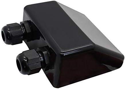 JJDD Solar-Doppel-Kabeldurchführung, 1 Stück, quadratisch, schwarz, wetterfest, solarbetriebene Photovoltaik-Klammer, geeignet für Kabeltypen 2,5 mm2 bis 6 mm2 auf Wohnmobil, Wohnmobil, Boot
