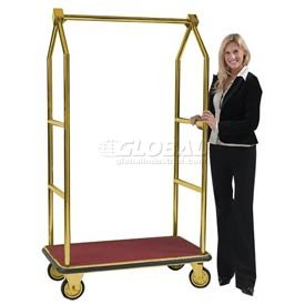 Aarco LC-2B Bellman Luggage Cart Brass Finish Carpeted Bed