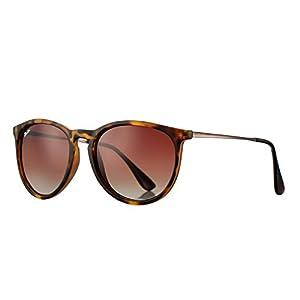 Polarized Sunglasses for Women Classic Erika Style 100% UV Protection (Tortoise; Gunmetal/Brown Gradient)