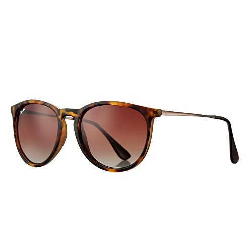 Polarized Sunglasses for Women Classic Round Style 100% UV Protection (Tortoise; Gunmetal/Brown Gradient)