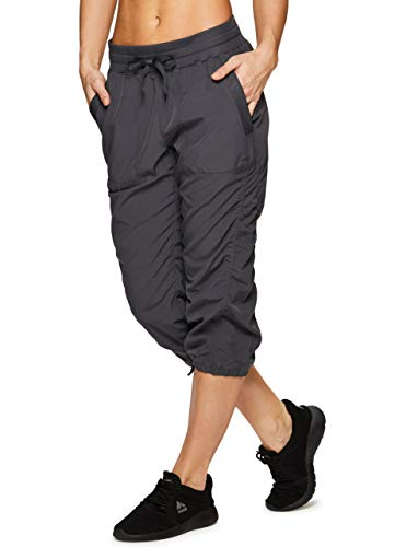 RBX Active Women's Lightweight Body Skimming Drawstring Woven Capri Pant Charcoal -