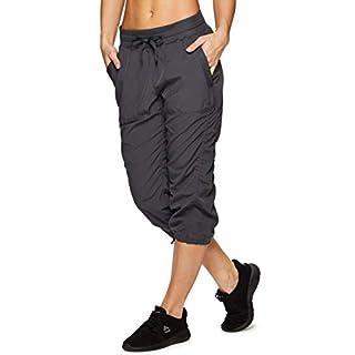RBX Active Women's Lightweight Body Skimming Drawstring Woven Capri Pant,Charcoal Grey,Small