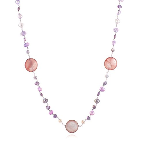 (Pink & Purple Mother of Pearl Shell and Cultured Freshwater Pearl Crystal Beads Long Necklace 34-36