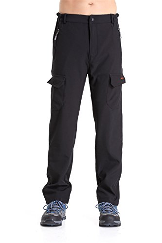 Men's Fleece-Lined Softshell Pants (Black, US XL/ASIAN 3XL) - Wet Weather Rain Pants