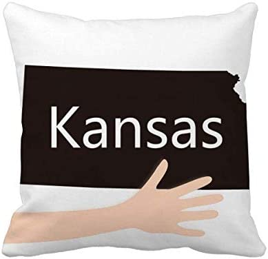 Map Of America Kansas.Kansas America Usa Map Silhouette Hand Throw Pillow Square Cover