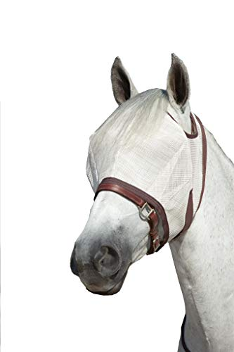 Kensington Natural Fly Mask with Web Trim - Protects Horses Face Eyes from Biting Insects and UV Rays While Allowing Full Visibility - Ears and Forelock Able to Come Through The Mask (Large, Grey)