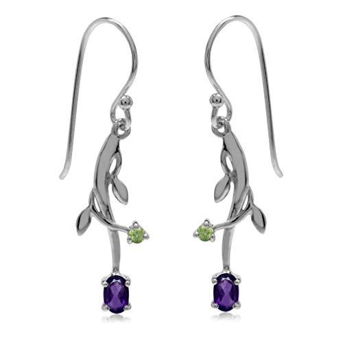 Silvershake Natural African Amethyst and Peridot 925 Sterling Silver Vine Leaf Dangle Hook Earrings