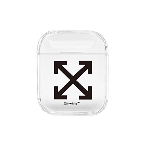 Hard Plastic Cross Logo Clear Case for Apple Airpods 1 2 High Fashion Brand Creative Design Protective Transparent Shockproof Smooth Boys Teens Men Guys Boyfriend Husband