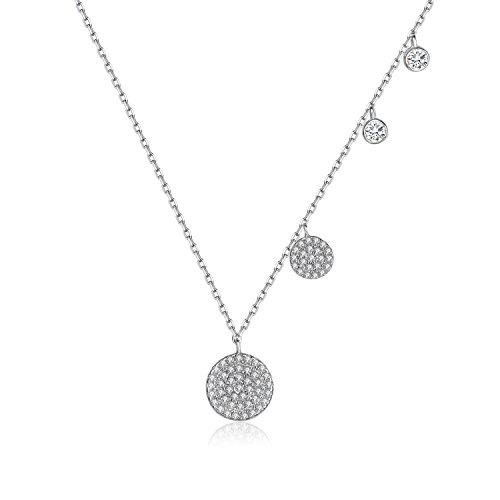 It's a circle 925 Sterling Silver Four Tiny Dots Pendant Necklace Cubic Zirconia CZ Diamond gift